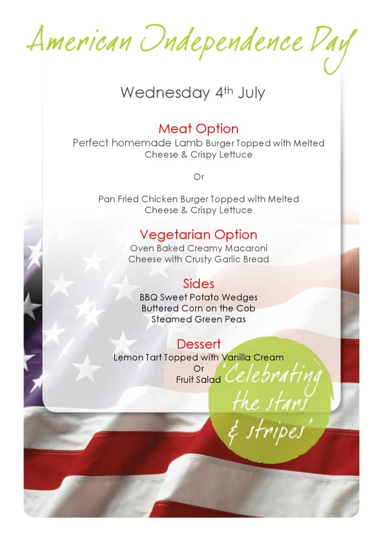 4th July - American Independence Day Menu
