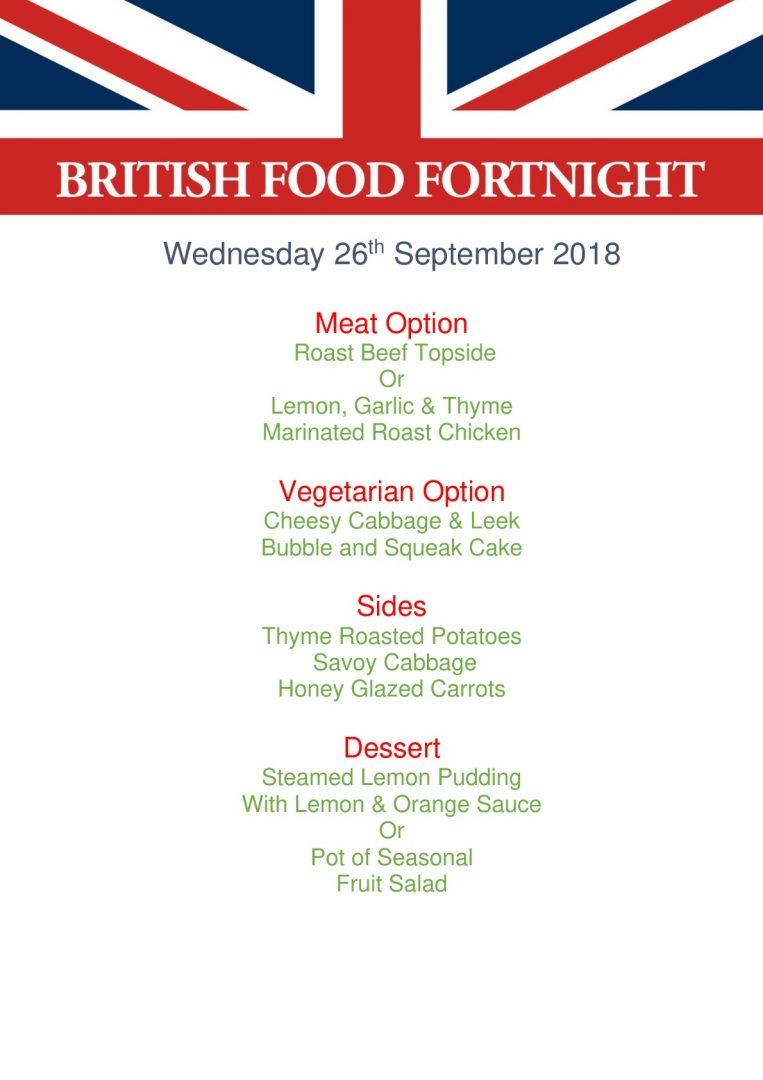 26th September - British Food Menu